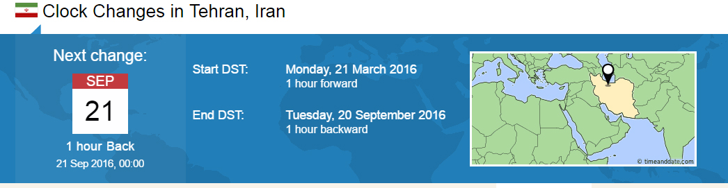 Clock Changes in Tehran
